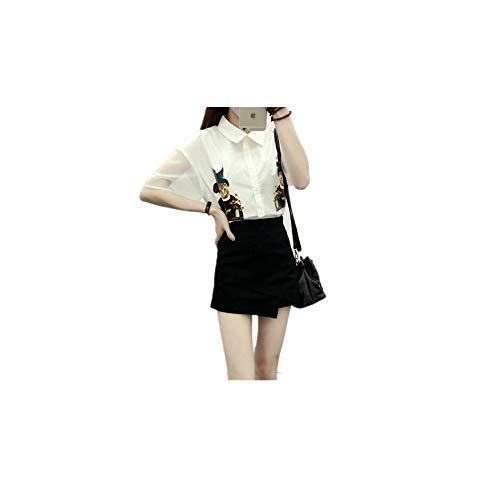 PARTyu Denim Flared Skirt - Midwash Panelled Jean Skirt Midi Skirt (Black-X-Large