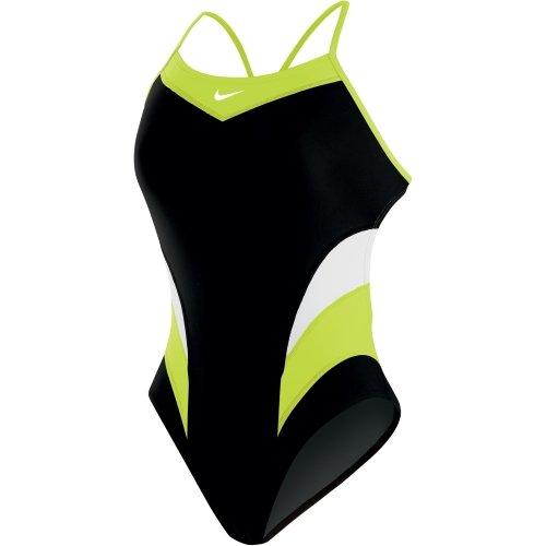 Nike Women's Victory Color Block Cut-Out Tank Swimsuit (Volt, 28)