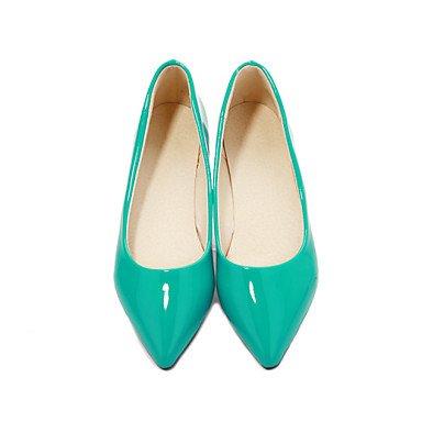 Cómodo y elegante soporte de zapatos de zapatos de mujer charol talón plano punta Toe Flats oficina y carrera/vestido CasualBlack//Azul/Amarillo Almond