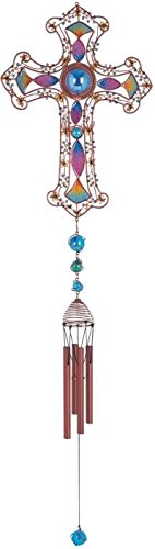 StealStreet SS-G-99904 Wind Chime Copper & Gem Cross Hanging Garden Decoration Collection ()