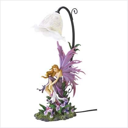 Lucky-gift - Orchid Fairy Table Lamp - Lamp Fairy Glass Table Art Vintage Shade Stained Style Butterfly - Sculpture Tiffany Desk Light Illuminated Bronze Brass Base Night Cherub