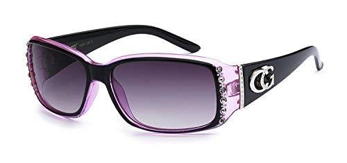 (CG Eyewear Two Tone Rhinestone Square Colorful Women Girls Fashion Hot Sunglasses (Square Purple))