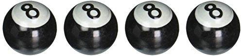 Spec-D Tuning WVCC001 Spec-D Wheel Valve Cap 4Pc - Chrome - Pool 8 Ball ()