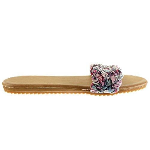 Angkorly - Scarpe da Moda sandali infradito donna tanga intrecciato strass Tacco tacco piatto 1.5 CM - Rosa