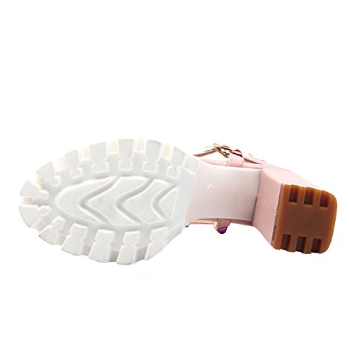 Rivets Avec Boucle En Slingback Haut Sandales Ouvert Uh Blocs Bout Talons Et Femmes Plateforme T Laniere Rose À OHwPz