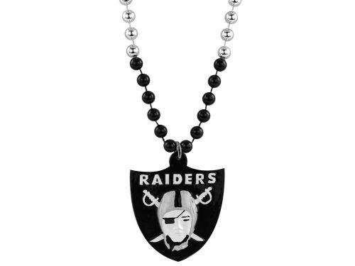 Oakland Raiders Mardi Gras Beads With Medallion