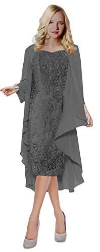 - ThaliaDress Womens Lace Straps Mother of Bride Dress with Chiffon Shawl T107LF Dark Gray US10