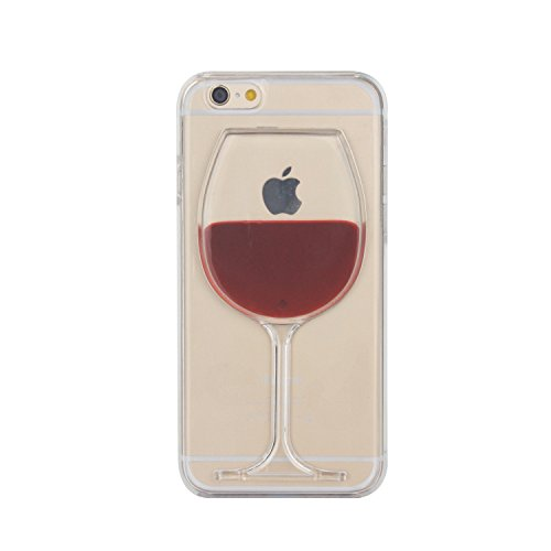 Mingus 3D Flow Liquid Red Wine Goblet Clear Case for iPhone 6, Fashion Creative 3D Flow Liquid Dynamic Red Wine Goblet Transparent Hard Case Cover Shell for iPhone 6 4.7 Inch - (Red Wine Goblet)