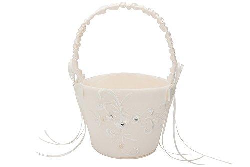 AISLE STYLE Beautiful Wedding Flower Girl Basket Lace Embroidery
