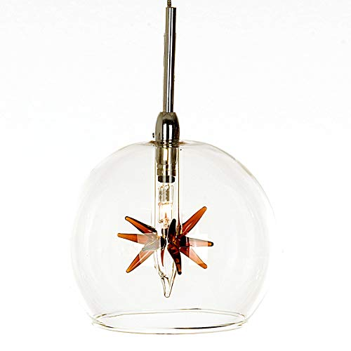 (ET2 E20108-25 Starburst 1-Light Pendant Mini Pendant, Polished Chrome Finish, Clear/Amber Glass, 12V G4 Xenon Bulb, 50W Max., Dry Safety Rated, 3000K Color Temp., Standard Triac/Lutron or Leviton Dimmable, Bubble Glass Shade Material, 238 Rated Lumens)