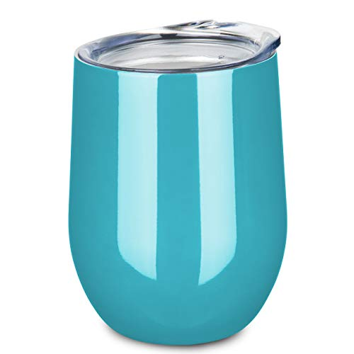 ONEB Stainless Steel Stemless Wine Glass Tumbler with Lid, 12 oz | Double Wall Vacuum Insulated Travel Tumbler Cup for Coffee, Wine, Cocktails, Wall Vaccum Insulation cup (blue-green)
