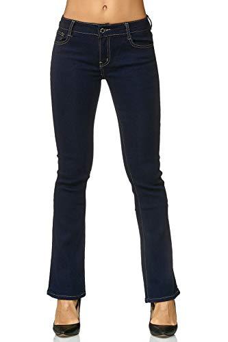 Egomaxx Évasé Pour Flared Fusées Boot Bleu Pantalon 70's Femme Cut Jeans Foncé HYEW2IeD9b