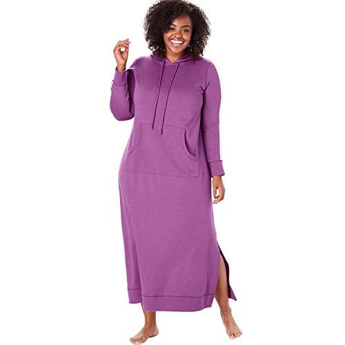 (Dreams & Co. Women's Plus Size Long Hooded Sweatshirt Lounger - Radiant Orchid Stripe, 26/28)