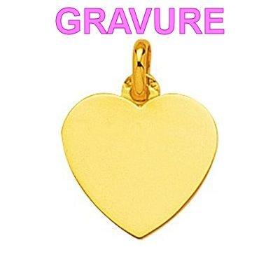 So Chic Bijoux © Pendentif Femme Plaque Coeur Or Jaune 750/000 (18 carats) - Personnalisable : gravure offerte