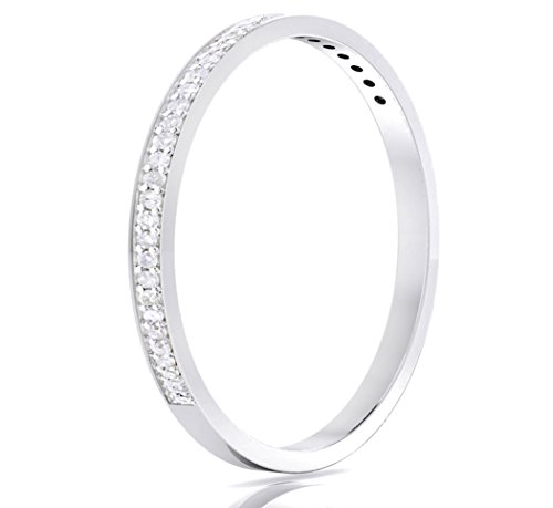 (14k White Gold Half Band Natural Diamond Wedding Anniversary Ring (1/10 cttw, G-H Color, I1-I2 Clarity) (Size 6))