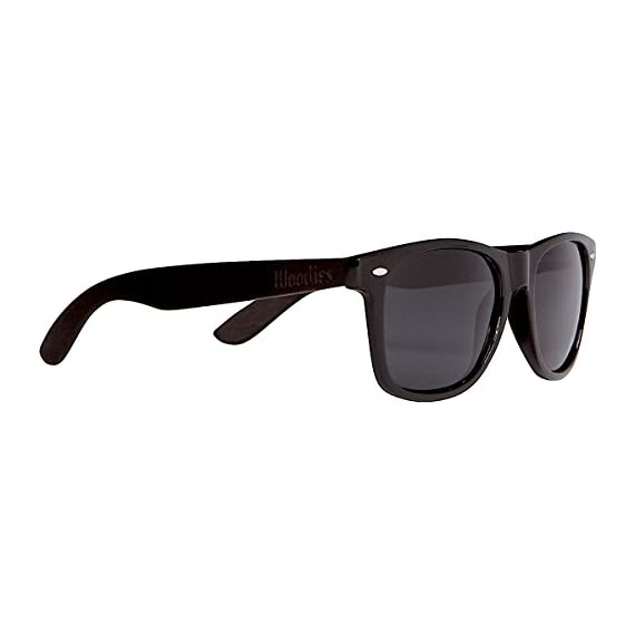 Woodies Ebony Wood Sunglasses with Black Polarized Lenses for Men or Women 1 COMFORTABLE: Wood is 50% Lighter than Ray-Bans Includes FREE Carrying Case, Lens Cloth, and Wood Guitar Pick Polarized Lenses Provide 100% UVA/UVB Protection