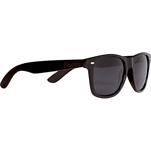 WOODIES Ebony Wood Wayfarer Sunglasses with Black Polarized Lenses for Men or - Ray Black Womens Bans