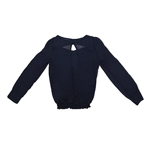 TOOGOO(R)Blusa de pulover de manga larga de Obispo de gasa de cuello V medio vaporoso de la Mujer Azul Marino L