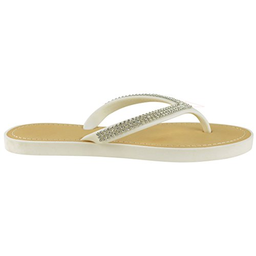 Moda Donna Assetata Diamante Infradito Sandali Jelly Sandali Estate Beach Toe Post Scarpe Bianco