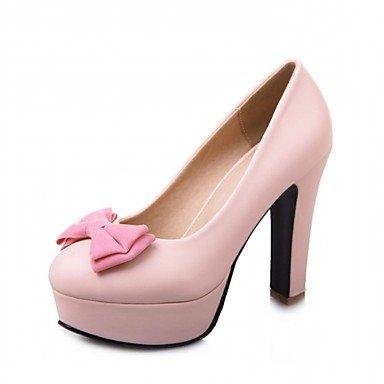 y Pink y de la Invierno Comfort de Oficina sintético Pisos de cuero la Verano de Otoño Primavera PU novedad Mujer Noche boda partido de la del Carrera SxUxF57