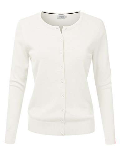Sweater Cardigan White Off (NINEXIS Women's Long Sleeve Button Down Soft Knit Cardigan Sweater Ivory L)