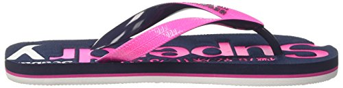 Superdry Damen Faded Logo Zehentrenner Multicolore (Magenta Pink/Dark Navy/Optic)