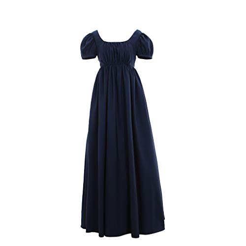 1791's lady Regency Ball Dress High Waistline Tea Gown Dres M ()