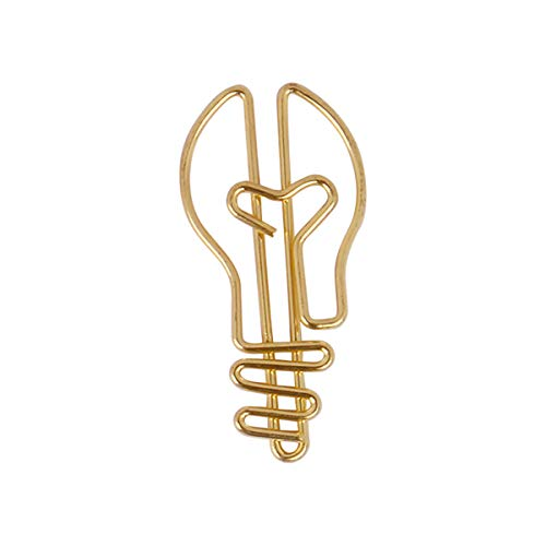 10pcs/Set Light Bulb Style Shaped Paper Clips Bookmarks Smooth Finish Fun Office Supplies for Kids School Student (Golden)