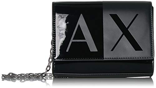 (A|X Armani Exchange Two Tone Wallet with Chain, Black)