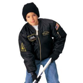 Rothco Kids Flight Jacket with Patches, Black, - Flight Jacket Camouflage Kids