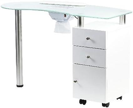 Mesa Manicura con aspirador y bandeja de cristal: Amazon.es: Belleza