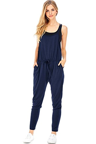 Pink Ice Women's Juniors Soft Terry Cloth Jogger Jumper (L, Navy) (Jumpsuit Cloth Terry)