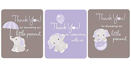 (Gray Elephant Lip Balm Labels Baby Shower Favors Set of 45 (Purple))