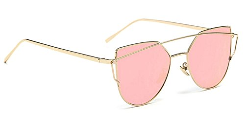 WebDeals - Cat Eye Mirrored Metal Frame Flat Lenses Crossbar Womens Sunglasses (Gold, - Sunglasses Roses