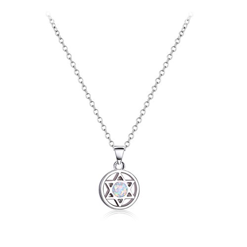KELITCH Classic Star of David Hexagram Pendant Necklace 925-Sterling-Silver White (Opal Star Of David Necklace)
