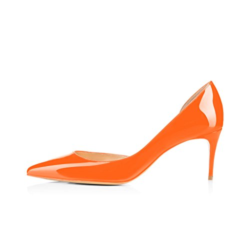 XYD Sexy Low Heel D'Orsay Shoes Pointed Toe Slip on Evening Kitten Pumps for Women Orange-patent great deals online clearance supply collections for sale explore online buy cheap big discount 7mnE7hcuDP