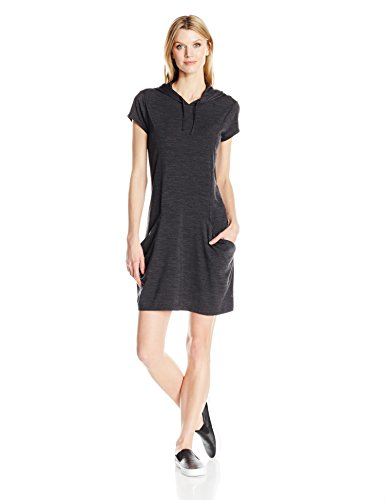 Hooded Heather Yanni Dress Femme Capuche à Robe Black Icebreaker 8x6HEwqBw