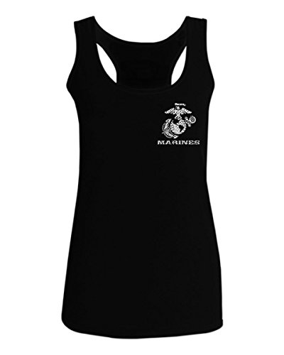 Marine Corps Tank - USA American Logo Seal Marine Corps USMC United Women's Tank Top Sleeveless Racerback (Black, Medium)