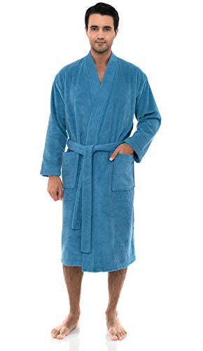 - TowelSelections Men's Robe, Turkish Cotton Terry Kimono Bathrobe X-Small/Small Heritage Blue