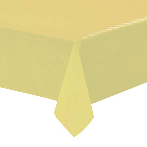 Yellow Plastic Tablecloths - 12-Pack, 54 x 108 Inches Table Cloths, Rectangular Disposable Table Covers, Fits up to 8-Foot Long, Buffet Banquets or Long Picnic Tables, Party Decoration Supplies, 4.5 x]()