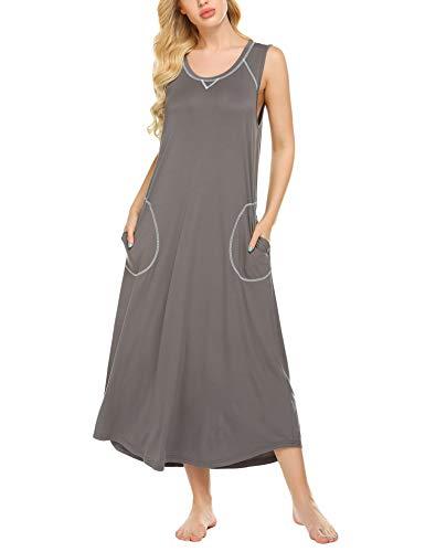 Ekouaer Women's Sleepwear Casual Scoop Neck Nightshirt Sleeveless Plus Size Nightgown