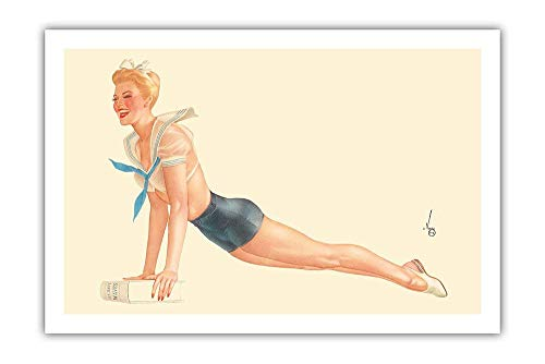 Pacifica Island Art Miss April Sailor Girl - I'm Going to Join The Navy - Vintage Pin Up Calendar Page by Alberto Vargas c.1944 - Premium 290gsm Giclée Art Print 12in x 16in