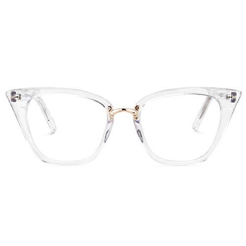 Zeelool Cat Eye Glasses Frame for Women Clear Lens Martha FA0457-02 ()