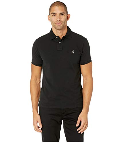 Classic Fit Mesh Polo (Black, XL)