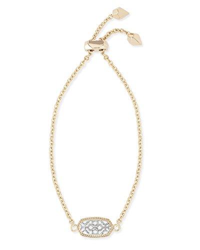 Kendra Scott Signature Elaina Gold Adjustable Chain Bracelet In Silver Filigree