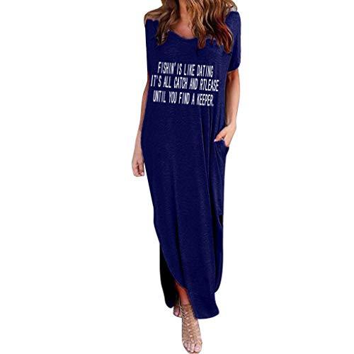 Zlolia Women's Letter Print Straight Dress with Pocket Split Short Sleeve Swing Dress New Summer Casual Skirt ()