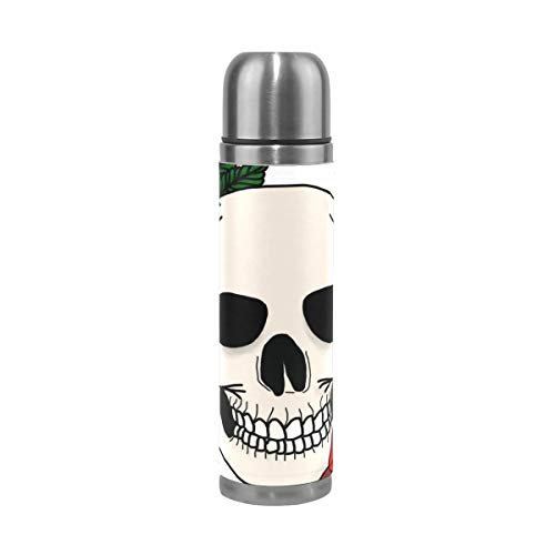 OuLian Water Bottle Skull and Roses Sports Insulated Stainless Steel Water Bottles Leak Proof Double Wall Thermos Leather Cover 17 Oz (Stanley 24 Oz Utility Ss Water Bottle)