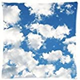 White Clouds Blue Sky Two Sides Square Zippered Pillow Cover 18x18 inch