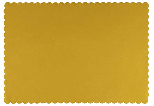 Paper Placemats - 100-Pack Yellow Bulk Disposable Placemats, Colored Tabletop Mats with Wavy Scalloped Edge, Decorative Birthday Party Supplies, Baby Shower, Easter, Tea Party, 14 x 10 Inches ()