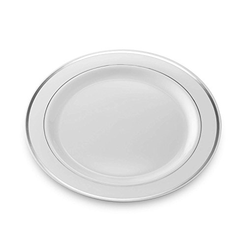 Disposable Party Plates (Pack Of 60) Hard Plastic Tableware White Fancy China-Like Design With Elegant Silver Rim Heavyweight Salad Plates (7.5u0027u0027) ...  sc 1 st  Information.com & Best Deals on Fancy Plastic Ware For Weddings Products